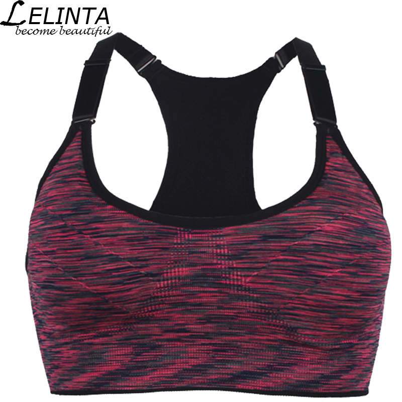 LELINTA Women Top Sports Bra Blue/Green/Red/Purple/Gray Yoga Fitness Wireless Running Vests with Padded Push Up Workout