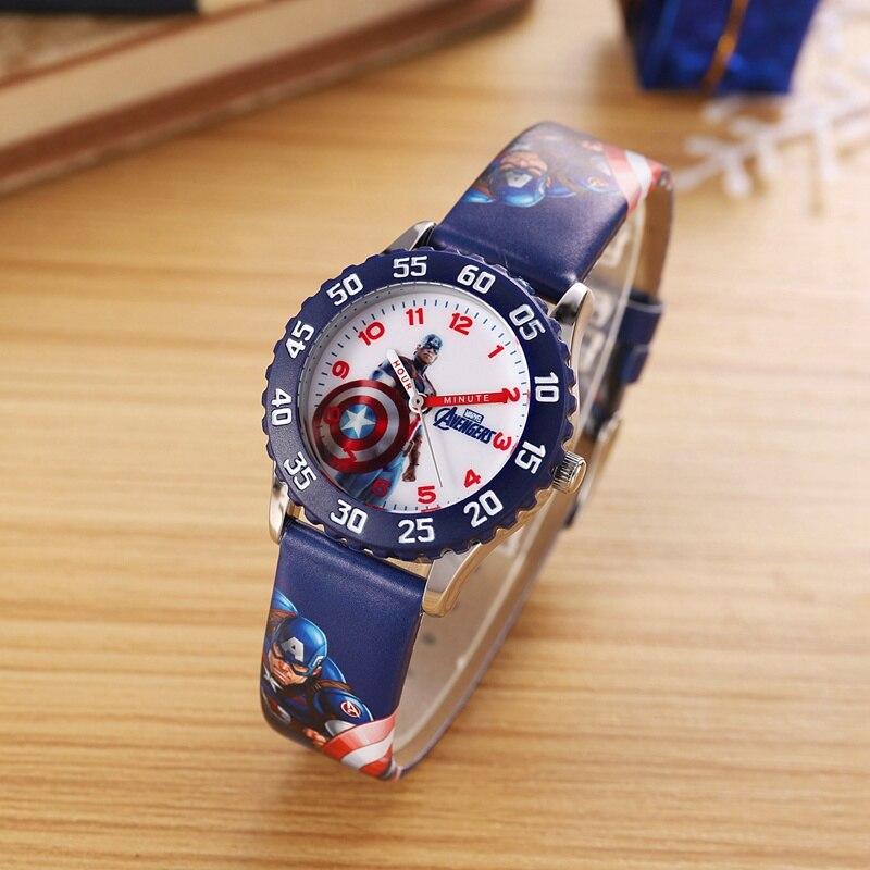 Image 2 - Marvel Мстители Капитан Америка Железный мужской детский синий красный PU ремешок Кварцевые водонепроницаемые часы Disney Пряжка аналоговые наручные часы для детейДетские часы   -