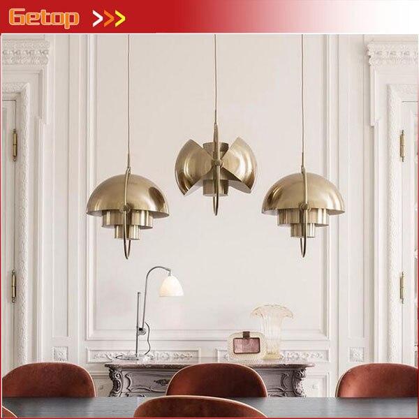 купить Nordic Post-modern Deformable Creative Metal Pendant Light Bedroom Restaurant Bar Semi-circular Pendant Lamp LED Lighting E27 онлайн