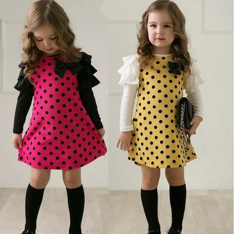 2018 Autumn New Dot Girls Dress Long Sleeve Bow Children's Clothing Casual Cotton Kids Dresses for Girls 2 3 4 5 6 Years Clothes girls dress autumn new 2018 casual