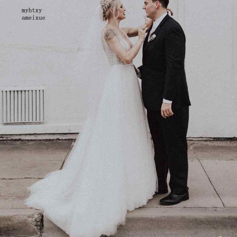 Сексуальное свадебное платье A Line, большие размеры 2019, Vestido De Noiva Princesa, сексуальные свадебные платья, кружевной топ, свадебное платье в стиле бохо, глубокий v-образный вырез