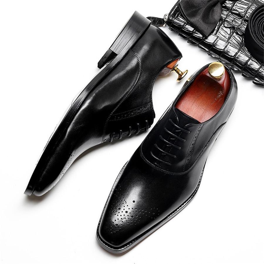 Мужские туфли Броги из натуральной коровьей кожи; деловые свадебные туфли; повседневная обувь на плоской подошве; винтажные оксфорды ручно... - 2