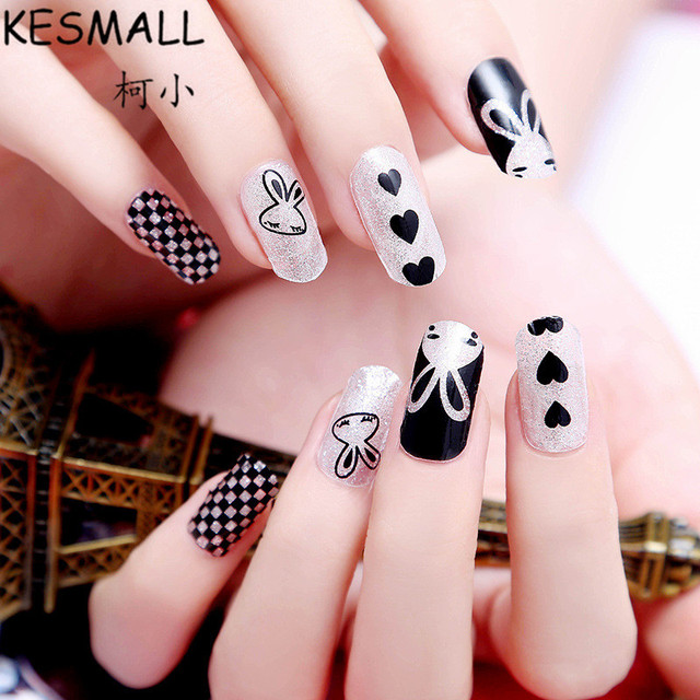 Kesmall 2sheet fashion nail sticker cute rabbit butterfly cartoon manicure nails decoration multi design nail art