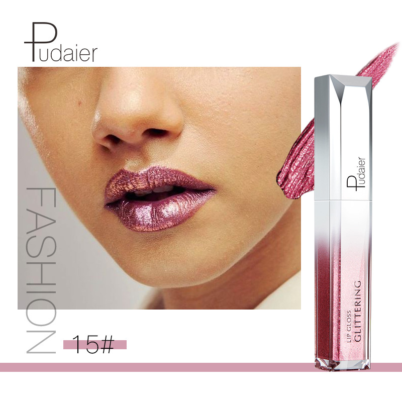 Pudaier Metallic Glitter Shine Full Color Lipstick Makeup Long lasting Liquid Tint Lip Gloss Stick 18 Colors Moisturizing Batom in Lip Gloss from Beauty Health