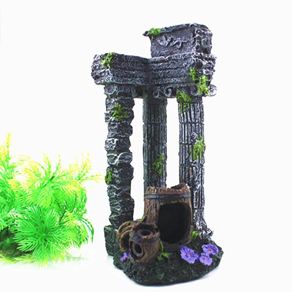 Fish aquarium ornaments - High Quality Simulation Resin Roman Gate Post Broken Barrel Aquarium Ornaments Fish Tank Decor