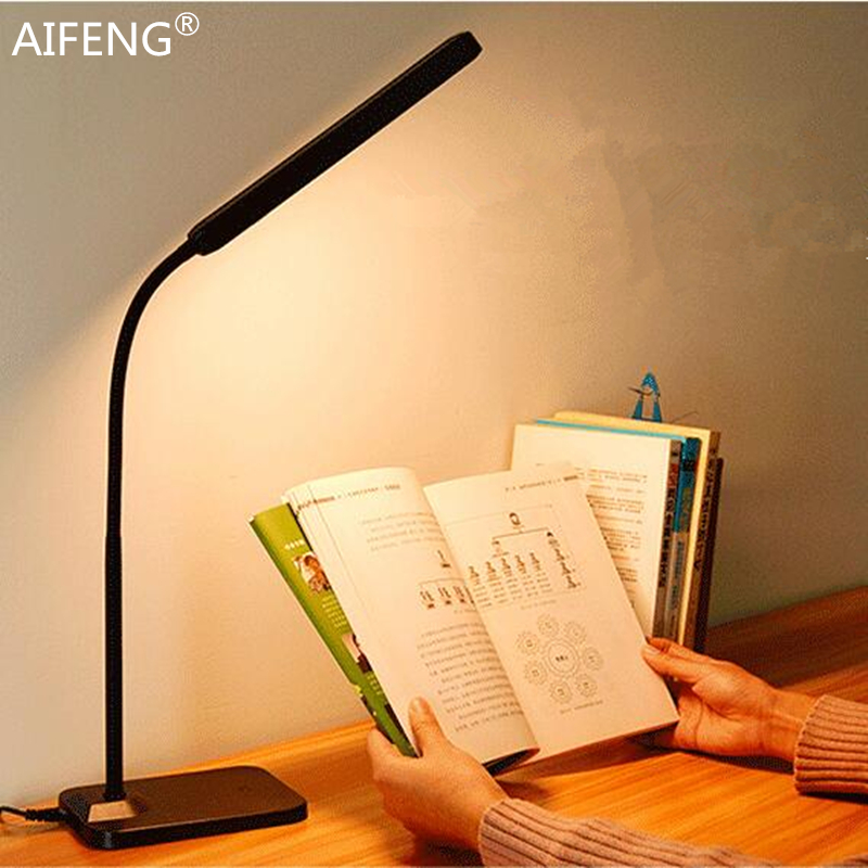где купить AIFENG Eye protection table lamp flexible metal gooseneck lamp study Stepless dimming usb led desk lamp reading lamp по лучшей цене