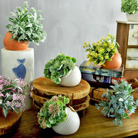 Artificial Bonsai Plant Fake Flower Green Plant Simulation Flower Pot Vase Wedding Home Decoration