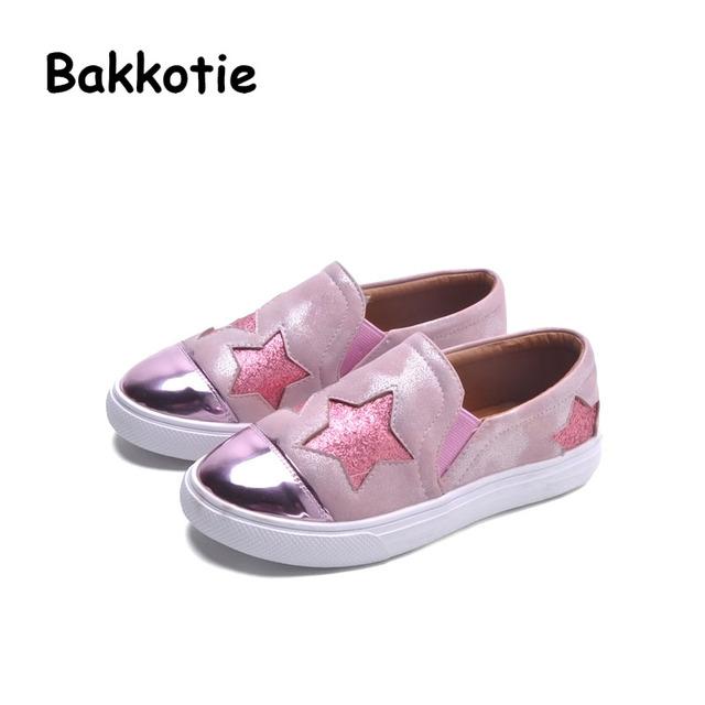 Bakkotie 2017 Nueva Primavera Niño Otoño Bebé Sport Mocasines Toddler Sneaker Kid Marca Ocio Entrenador Transpirable Chica Resbalón En Estrella