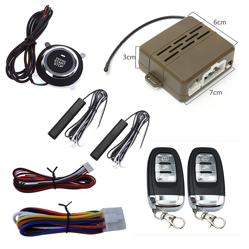 Car Alarm System PKE Keyless Entry Central Locking Push Button Engine Ignition Start/Stop Remote Engine Start universal pke car keyless entry alarm system with remote engine start push start stop button trunk release