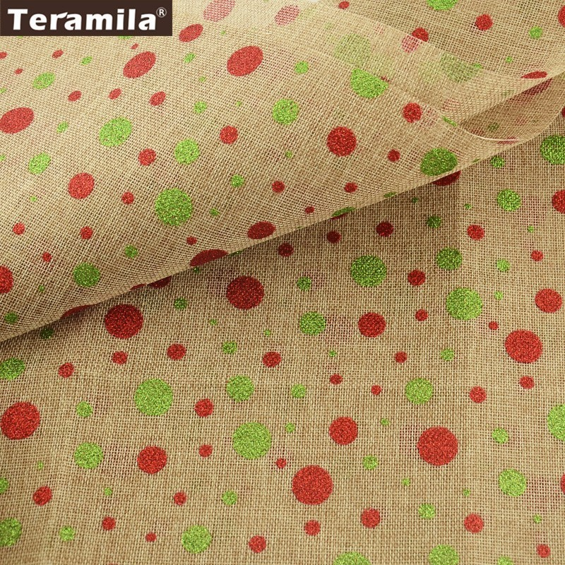 Teramila Linen Gold Foil Fabric Printed Christmas Red And Green Dots Patterns Bag Crafts Gray Sewing 50cmx150cm Quilting Cloth craft
