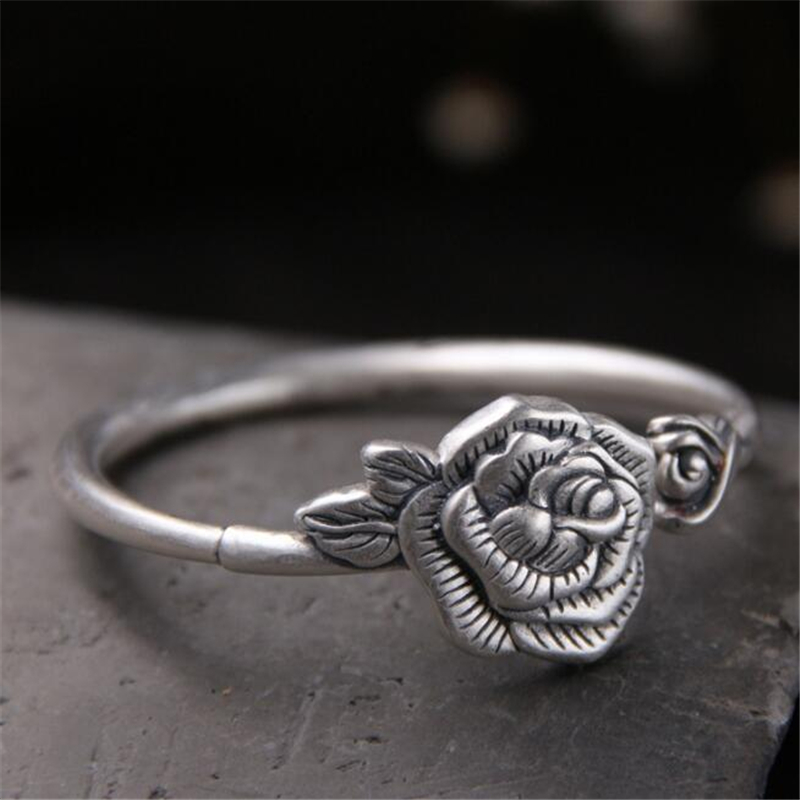 Womens Bracelet Vintage Rose Flower Pattern 999 Sterling Silver Open Cuff Bracelets Bangles For Artist 25mm Wide 35.70G fashion rose pattern wide bracelet w crystal golden
