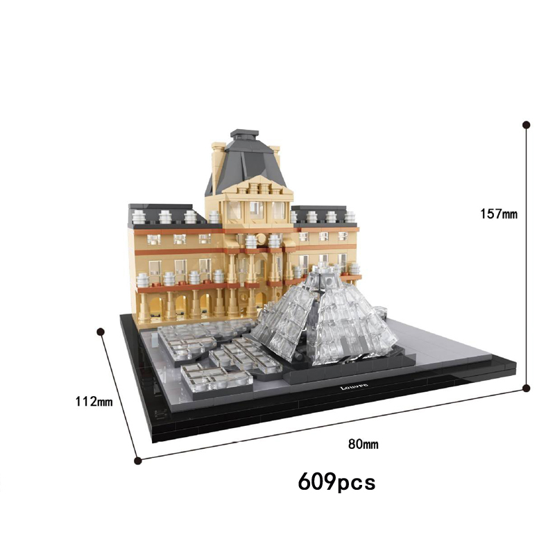 World famous Historical Culture Architecture Louvre Museum Paris France Building block model bricks educational toys collection hot world famous architecture the leaning tower of pisa italy building block model bricks educational toys collection for gifts