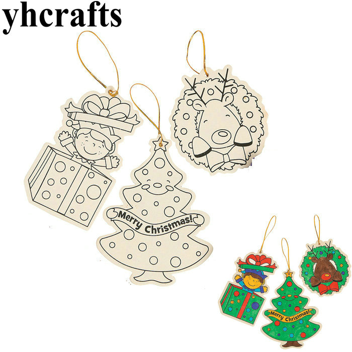 6PCS LOT Paint unfinished wood christmas tree ornament Drawing font b toys b font Kindergarten crafts