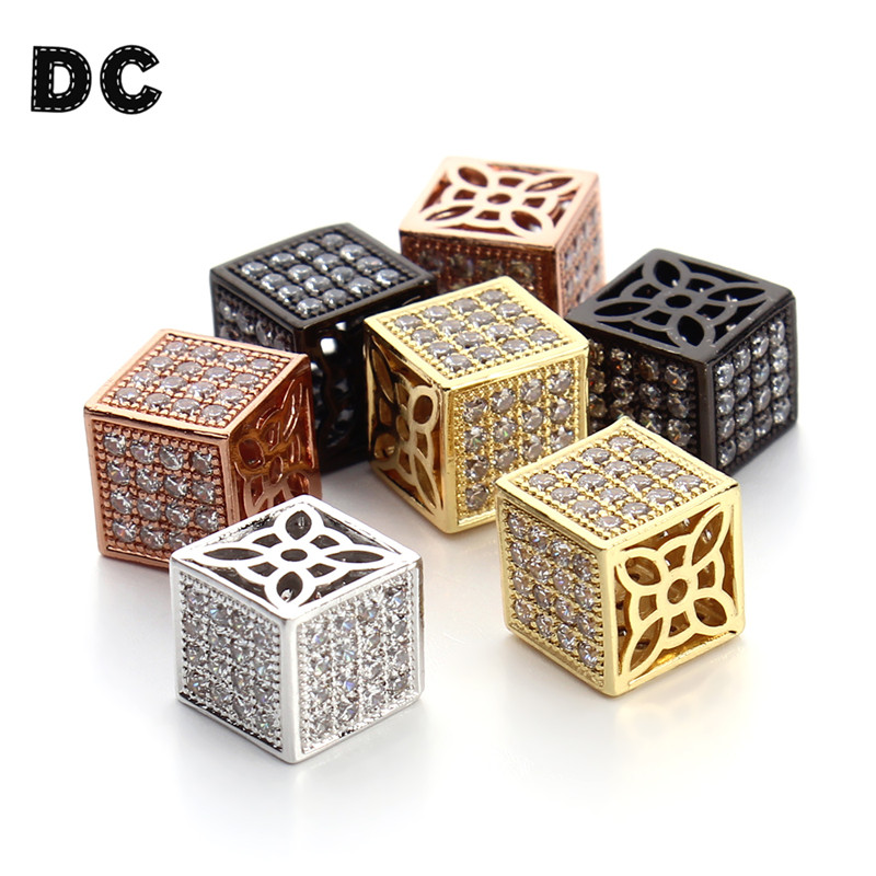 Dc 2pcs/lot 12mm Gold/rose Gold Color Micro Pave Cubic Zirconia Crystal Square Cube Beads For Necklace Bracelet Jewelr Making Jewelry & Accessories Beads