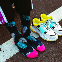 skate socks men Funny gifts for Couple cotton stocks hip hop fashion style Flamingo pattern funny street