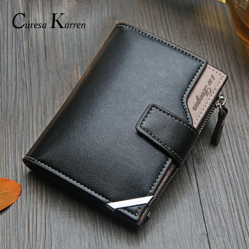 Men's Wallet Short Zipper-Buckle Multi-Function Vertical Folding Korean Casual Card-Bag