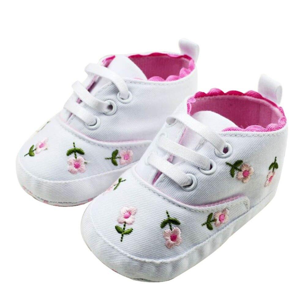 Nouveau-né bébé brodé dentelle fleur chaussures infantile fille bambin doux bas chaussures 0-12 M