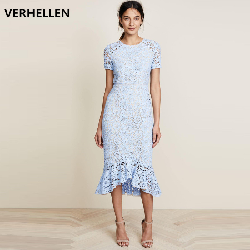 High Quality Fashion Designer Runway Dress 2019 Summer Women's Short Sleeve Hollow Out Lace Mermaid Party Elegant Mid Calf Dress-in Dresses from Women's Clothing    1