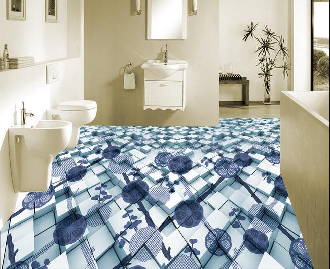 ФОТО customize pvc flooring self adhesive wallpaper 3d floor Abstract blue floral photo mural 3d floor tiles wallpaper