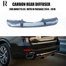 F15 X5 Carbon Fiber Rear Bumper Diffuser with Splitter Apron for BMW F15 X5 M-tech M-sport Bumper Only 2014 - 2018 цена и фото