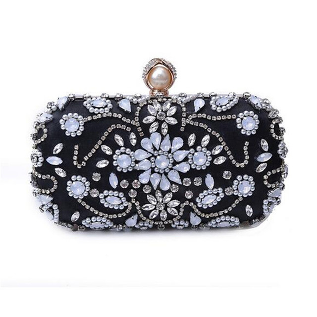 Luxury Handmade Crystal Beaded Evening Bag Women Fashion Small Handbag Weeding Party Bride Clutch Purse Chain Shoulder Bag Bolso
