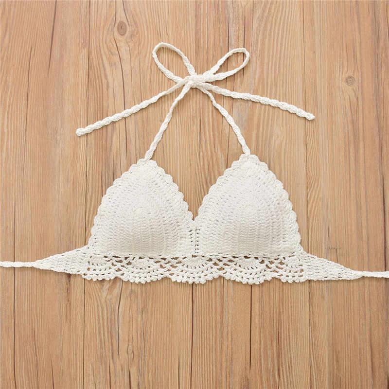 b7602fbe0e7ef Summer Hot Sale Handmade Crochet Bikini Top Women Sexy Solid Halter Bikinis  Underwear Brazilian Bathing Suit