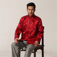Vintage Red Chinese Traditional Men Rayon Jacket Dragon Totem Coat Long Sleeve Button Overcoat M L