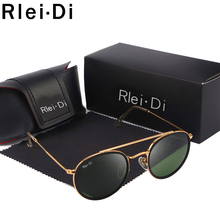 купить G15 Round Sunglasses Women Brand Mirror Shades Glass Lens Sunglasses For Women Double Bridge Traveling Sunglasses  Female UV400 по цене 846.99 рублей