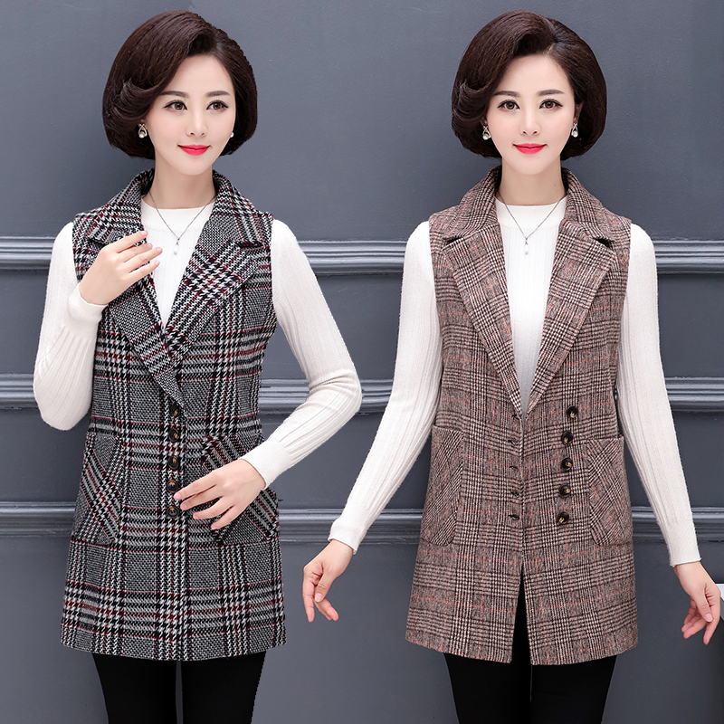 Spring and autumn new middle aged women's plaid vest jacket mother dress fashion elegant lapel single breasted suit vest