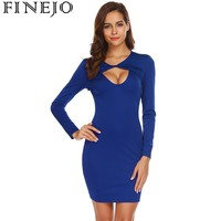 FINEJO 2018 New Twist Neck Sexy Bodycon Dress Spring Women Long Sleeve Hollow Out Solid Slim
