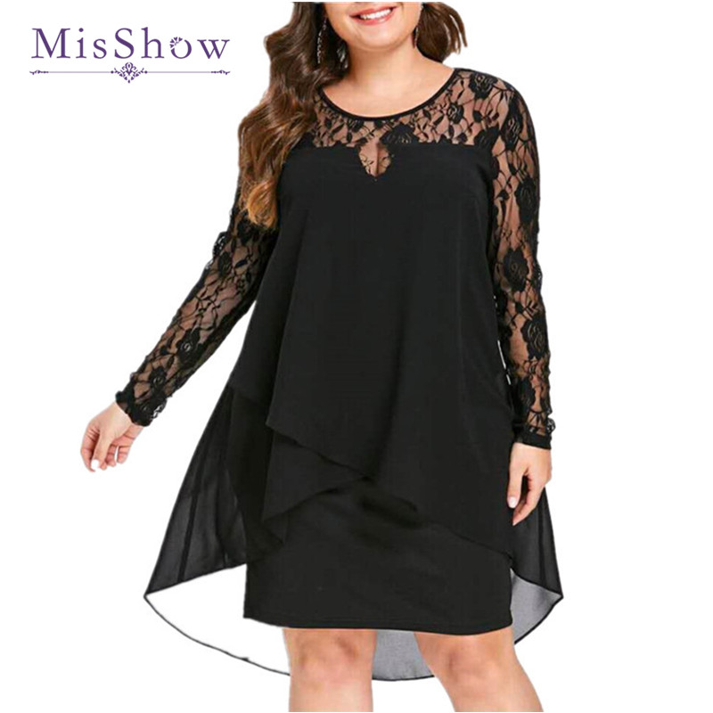 Black Plus Size   Evening     Dress   Short Elegant Lace Chiffon Mother of the Bride   Dress   Long Sleeve Formal Party   Dress   Robe De Soiree