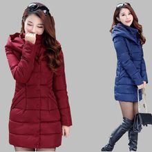 New Winter 2016Domesticate one's morality Hooded Women Down cotton-padded jacket Super Keep heat Pure coloration Medium lengthy Coat G1573