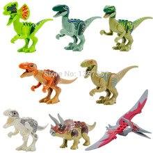 8 pçs/lote Jurrassic Mundo Jurássico dinossauro Figuras para crianças Animal Building Blocks Define Modelo Brinquedos