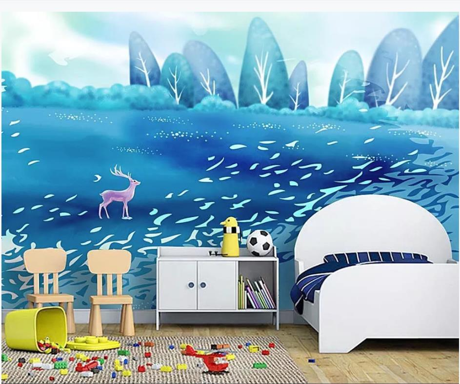 Custom photo wallpaper 3d murals wallpaper for walls 3 d HD beautiful hand-painted deer forest childrens room background wallCustom photo wallpaper 3d murals wallpaper for walls 3 d HD beautiful hand-painted deer forest childrens room background wall