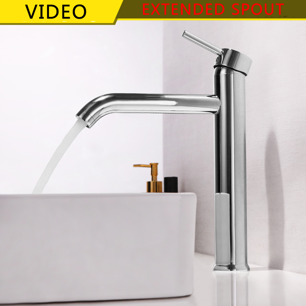 SKOWLL Wholesale Long Mouth Luxury Single Hole Hot & Cold Water Deck Mounted Brass Tall Sink Faucet