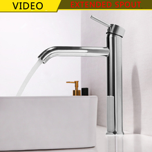 SKOWLL Wholesale Long Mouth Luxury Single Hole Hot & Cold Water Deck Mounted Brass Tall Sink Faucet e5004 vertical single mouth elbow moving hot and cold angle faucet