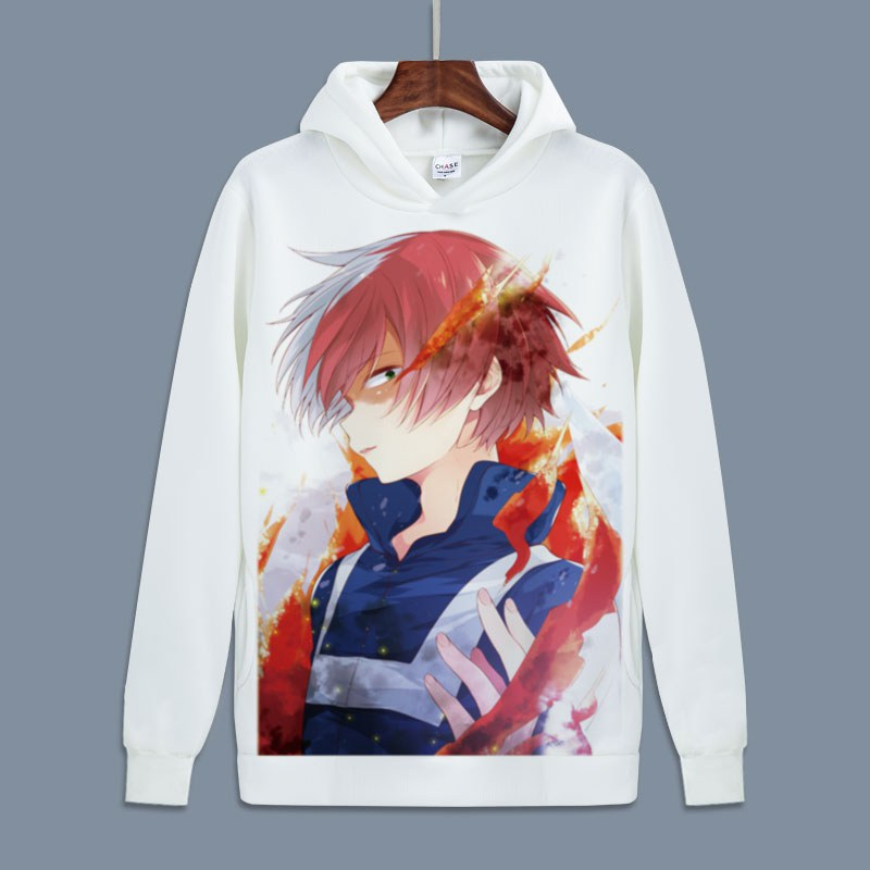 Hot My Hero Academia Cosplay Todoroki Shoto Pullover Sweatshirts Boku no Hero Academia Izuku Midoriya Fleece Hoodies for Autumn