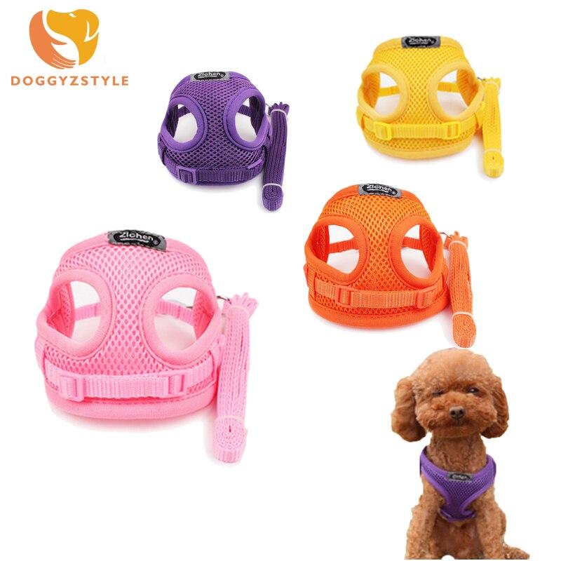 Soft Breathable Air Nylon Mesh Puppy Dog Pet Cat Vest Harness and Leash Set Chest Adjustable Collar Strap 7 Colors S M Size