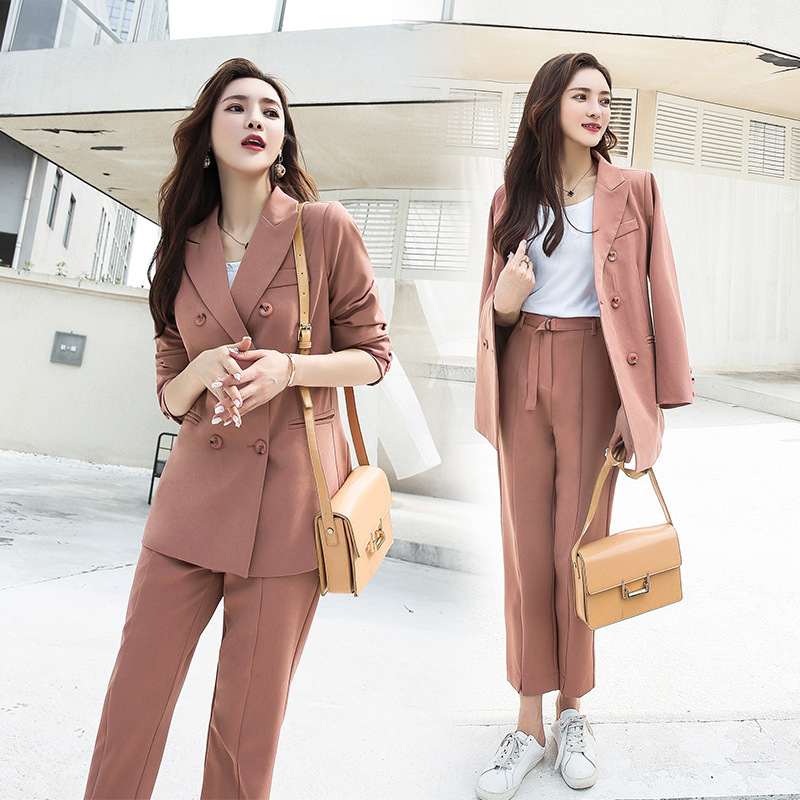 Set Female 2019autumn And Winter New Temperament Casual Solid Color Long-sleeved Small Suit + Trousers Elegant Fashion Two-piece