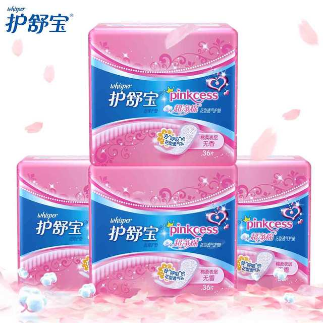 Whisper Ultra Thin Soft Cotton Pantiliners Women Regular Pads Unscented Panty liners (36pads/pack )  4 packs
