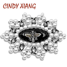 CINDY XIANG New Arrival Vintage Pearl Bee Brooch Silver Color Metal Insect Pins Fashion Jewelry Wedding Accessories Good Gift