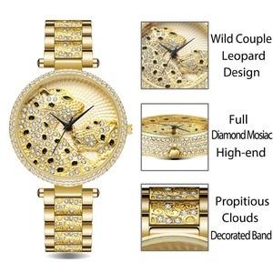 Image 2 - MISSFOX Women Watch Women Fashion Designer Brand Luxury Women Wrist Watch Gold Leopard Clouds Diamond Ladies Watch Quartz Clock