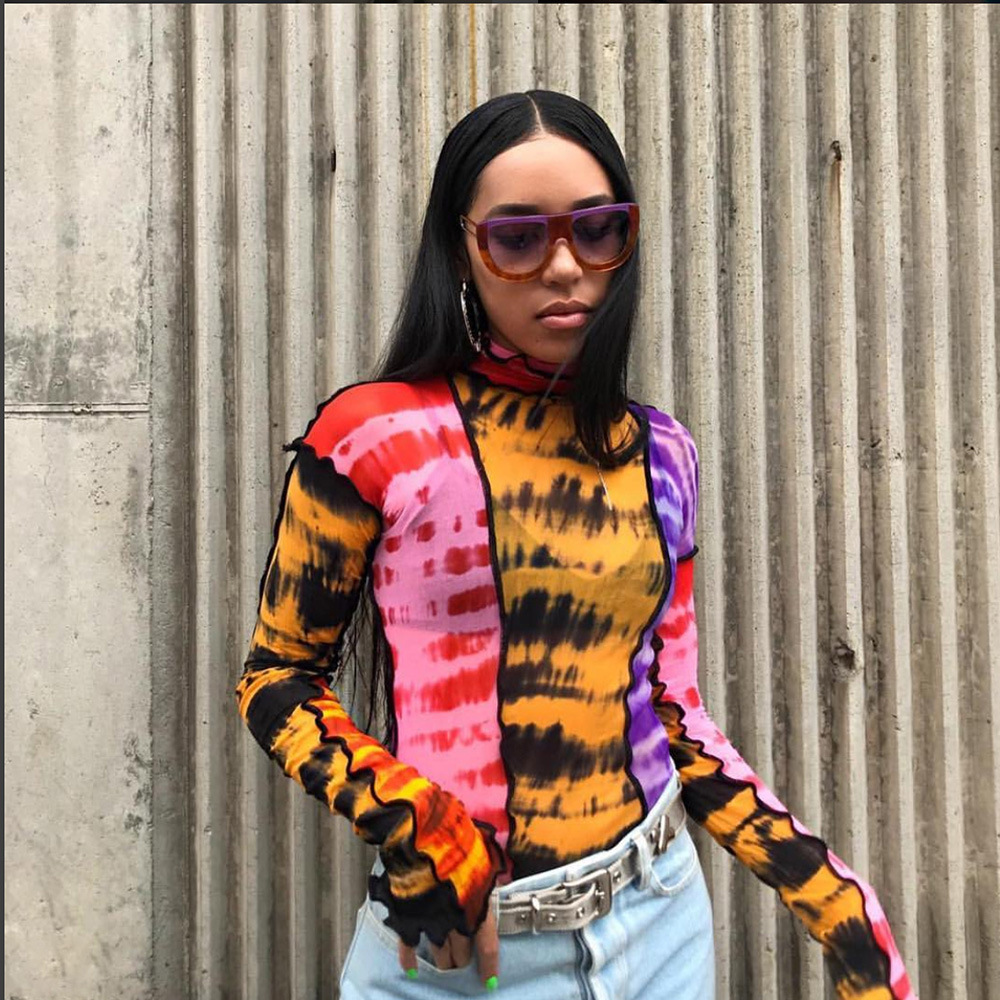 2019 Sexy Tie Dye Colorful Patchwork Turtleneck Long Sleeve T Shirts Women Transparent Mesh Tops Tees Harajuku Slim Clothing