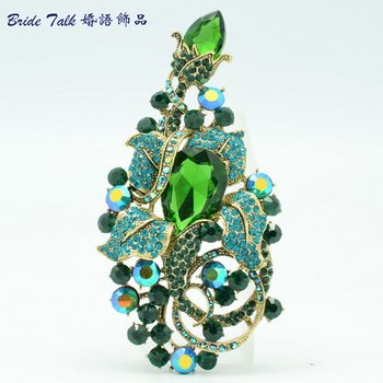 Noble Vintage Style Leaf Drop Brooches Rhinestone Crystal Green Flower Brooch Broach Hat Pins Women Jewelry Free Shipping 6406
