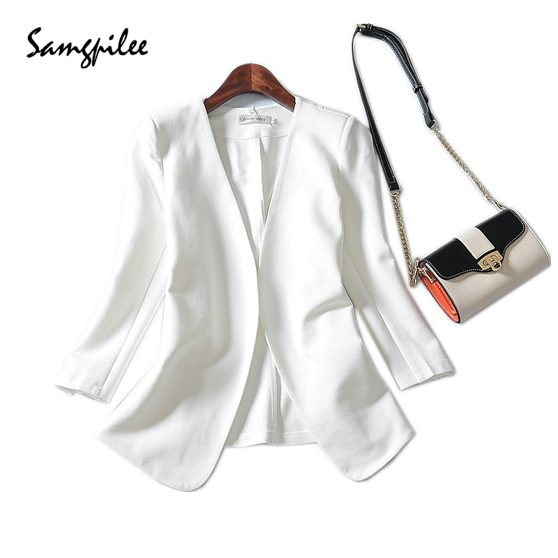 2018 Autumn New   Three Quarter Sleeve Solid None V-neck Appliques Casual fashion women Blazers L-4XL Plus size