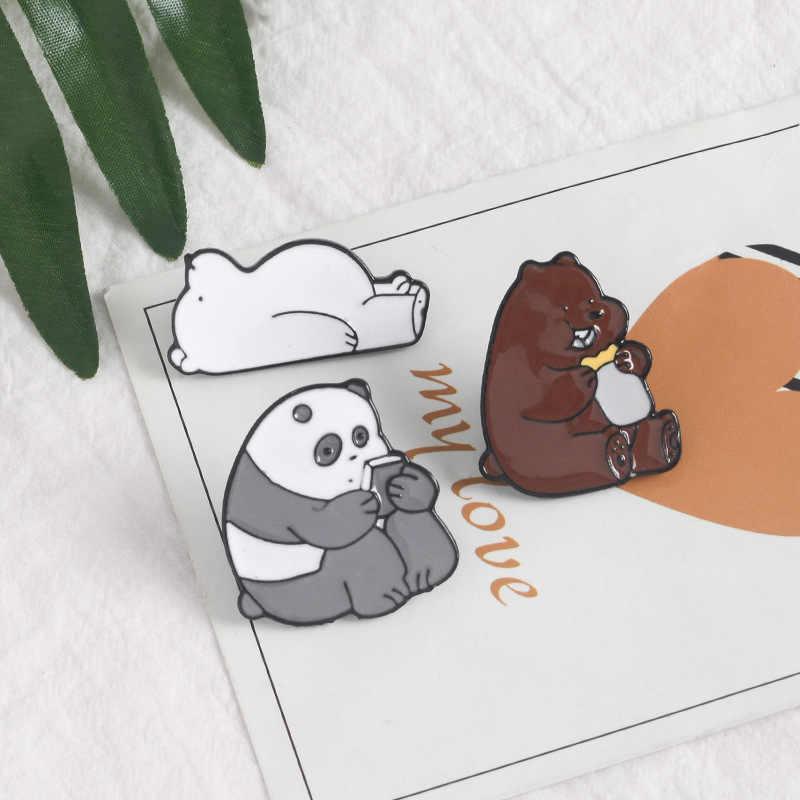 Hewan Gambar Kartun Pin Telanjang Beruang Lucu Grizzly Panda Es Beruang Denim Enamel Kawaii Kerah Bros Lencana Fashion Hadiah