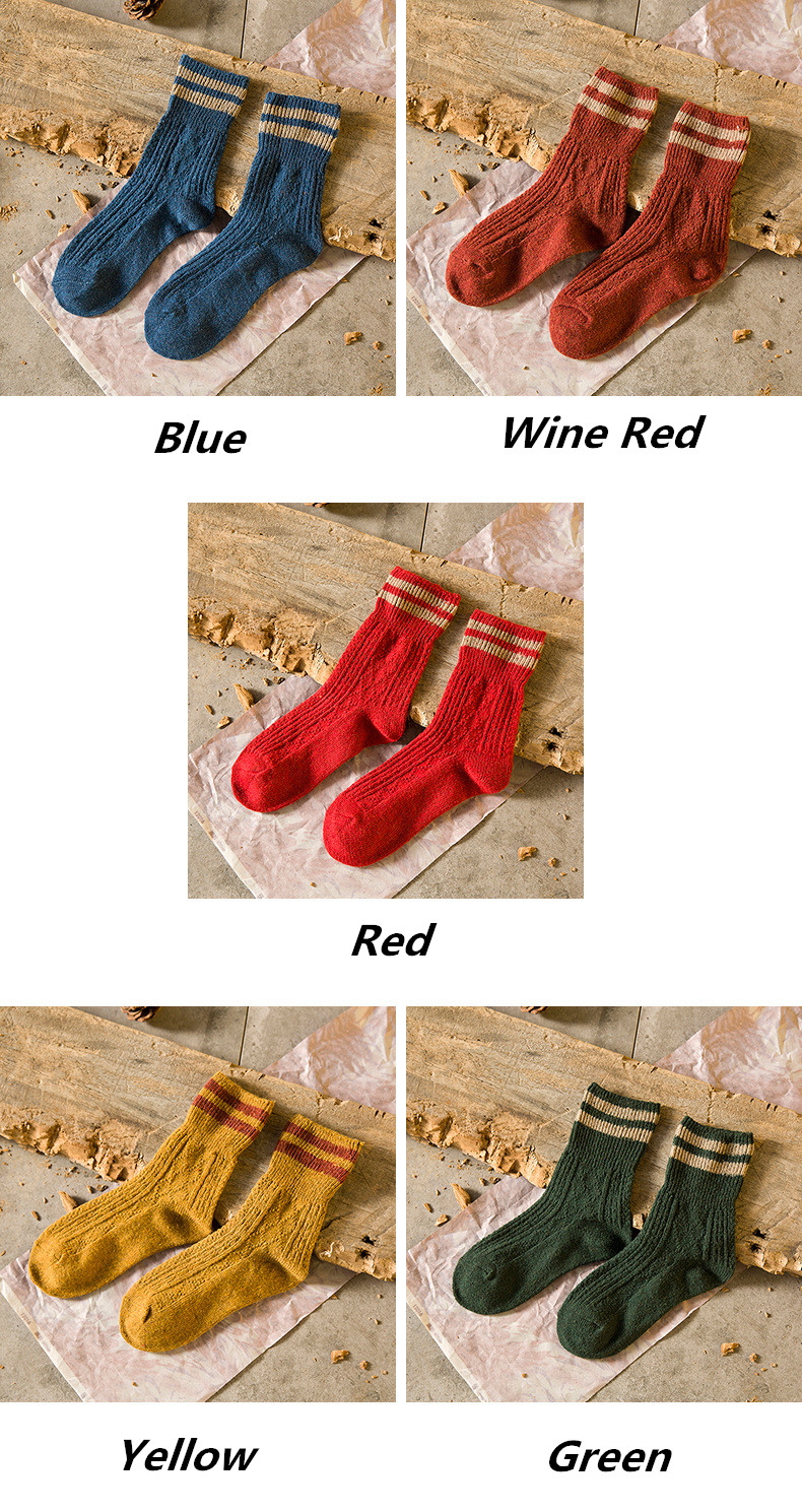 HTB1xo MaiHrK1Rjy0Flq6AsaFXa2 - 5 Colors New Fashion Retro Wool Women Socks Autumn Winter Wamer Cotton Girl Socks Female Japanese Tube Sock Students Hosiery