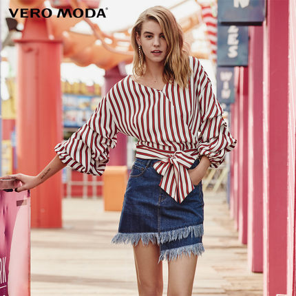 Vero Moda Stripe Frilled 3/4 Sleeve V-neck Chiffon Shirt|318258509