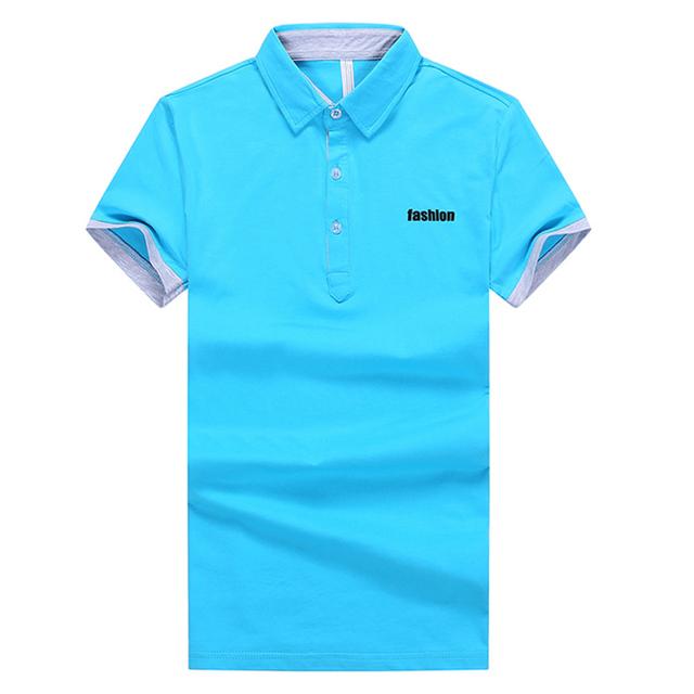 Más nuevo! hombres camisas de Polo blanco tamaño M-3XL de corea verano del Collar del soporte de algodón transpirable 2015 hombre guapo de moda Tee Shirts