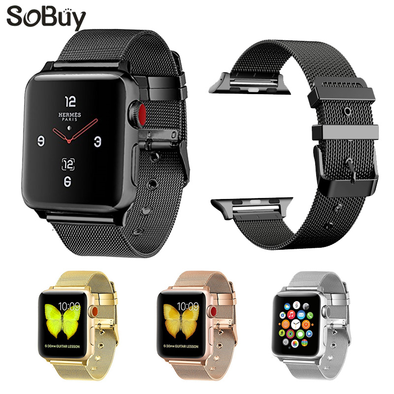 So buy Stainless Steel watchband for apple watch belt 42mm Bracelet 38mm for iwatch series 3/2/1 strap Milanese metal wrist band so buy wrist bracelet 316l stainless steel bands for apple watch 42mm 38mm iwatch strap series 1 2 3 sport milan nice metal band